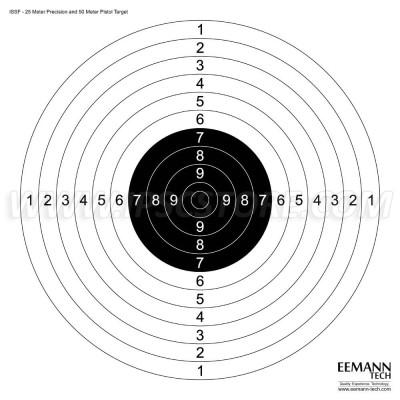 Eemann Tech ISSF 25M Precision & 50M Pistol Target 10 pcs.